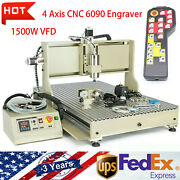 Usb 4 Axis Engraver Machine Cnc 6090 Router 1.5kw 3d Milling Drilling+controller
