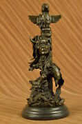 Signed Real Native American Indian Wolf Bronze Sculpture Figure Marble Sculpture