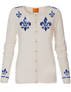 Luxe Oh` Dor 100 Cashmere Knit Cardigan White Sapphire Blue Size 34/36 Xs/s