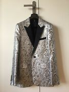 Dior Homme Ss04 Strip Silver Embroidered Tuxedo Suit Jacket Rare 46 Hedi Slimane