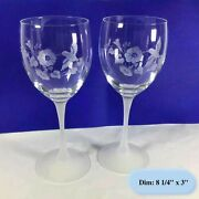 Set Of 2 Avon 24 Lead Crystal Frosted Stem Floral And Hummingbird Goblets