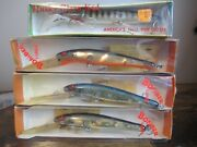 Lot Of 3 Vintage Bomber Long A Fishing Muskie Lures And One Husky Cisco Kid