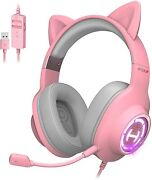 Gaming Headset G2 Ii Pink Cat Ear Usb Wired With Mic Pc Ps4 Ps5 With Thx 7.1