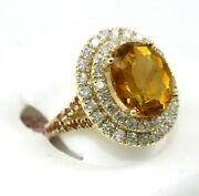 Natural Oval Orange Citrine And Diamond Halo Solitaire Ring 14k Yellow Gold 7.40ct