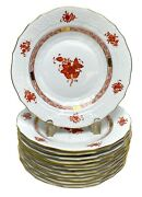 12 Herend Hungary Porcelain China Bouquet Salad Or Dessert Plates In Rust