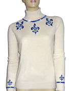Luxe Oh` Dor 100 Cashmere Sweater Pearl White Sapphire Blue 34/36 Xs/s