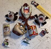 10 Vintage Taz Collectables Clock,plush Ornaments,comb,plush Coin Stash And Mugs