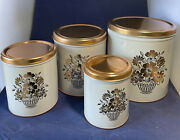 Vintage Burrite-ware Kitchen Canister Set 4 Piece. Never Used. White And Copper
