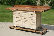 Antique Workbench Kitchen Island Industrial Table 10 Drawer Wood Cabinet Rustic