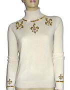 Luxe Oh` Dor 100 Cashmere Sweater Pearl White Champagne Gold 46/1623.1oz /xl