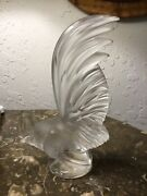 Lalique Coq Nain 8 Rooster Frosted Glass Figurine Paperweight France. Older One
