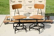 Vintage Toledo Chairs Industrial Drafting Swivel Seat Set Of Two Pair Factory