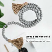 Wood Bead Garland With Tassels Farmhouse Beads Rustic Country Decor Kid Room 57