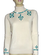 Luxe Oh` Dor 100 Cashmere Sweater Pearl White Turquoise Blue 34/36 Xs/s