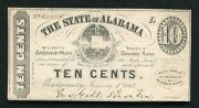 1863 10 Cents The State Of Alabama Montgomery Al Obsolete Scrip Noteandnbsp
