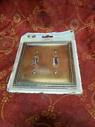 Hampton Bay Beaded Decorative Double Switch Plate Tumbled Antique Brass