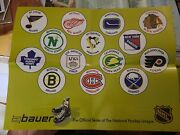 1970s Bauer Nhl Hockey Poster Display Montreal Canadiens California Golden Seals
