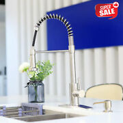 High Arc Kitchen Sink Spring Faucet Single Handle Pull Down Out Sprayer Silver