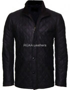 Roxa Men Quilted Genuine Lambskin Real Leather Jacket Hand Craft Soft Heavy Coat