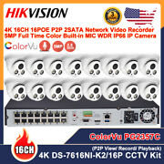 Hikvision 4k 16ch 16 Poe Full Time Color Cctv Systems 5mp Mic Wdr Ip Camera Lot