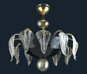 Chandelier Classic Glass Of Murano With Gold 24 Handmade In Italy 6 Light