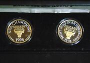 Chicago Bulls .999 Fine Silver W/ 24kt Gold 1995-96 Enviromint Rounds 2 Coin Set