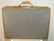 Vintage Hartmann 24 Inch Tweed And Belting Leather Hard Suitcase Blue Comb. Lock