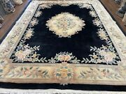 9x12 Chinese Aubusson Rug 9 X 12 Plush Chinese Rug 12x9 Floral Chinese Wool Rug