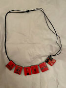 New Red London Mini,post Box,big Ben,bus Picture Bead Necklace Costume Jewellery