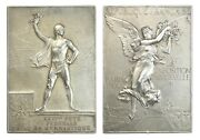 O485 France 1900 Silver Plaque Medal By Vernon Paris Olympic Games Rr