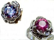Color Change Alexandrite Ring Size 6.75 Antique 925 Sterling Silver Flower Usa