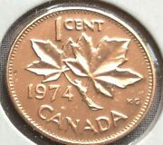 Free Shipping Canada 1974 One Cent 1¢ Penny Queen Elizabeth Uncirculated Coin