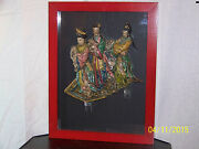 Antique Chinese The 3 Guanyins C1800and039s Hand Made Roof Tile Mounted/framed