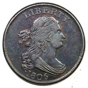 1806 C-1 Small 6, No Stems Draped Bust Half Cent Coin 1/2c