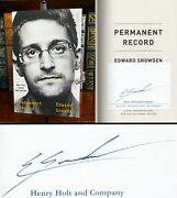 Permanent Record Hand Signed By Edward Snowden Whistleblower Autograph Rare