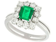 1970s 0.62 Ct Emerald And 0.84 Ct Diamond 15carat White Gold Cluster Ring M 1/2