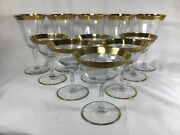 Antique Crystal Stemware Glasses Gold Plated Wine Champagne Glass 11 Pieces