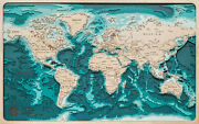 Woodenmap World Map Miller Projection, 3d Best Gift Wood Map Home Decor