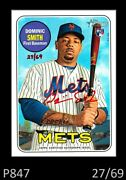 1-2018 Topps Heritage Rookie Red Ink Real One Auto Dominic Smith Mets 27/69