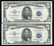 2 Consecutive 1953 5 Five Dollars Silver Certificate Currency Notes Gem Unc