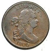 1806 C-4 R-1 Large 6, Stems Draped Bust Half Cent Coin 1/2c