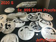 2019 2020 1 Troy Ounce 99 Silver Round Quarters 5x Proof Coin Lot Oz Atb .999