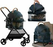 Small Dogs Cats Stroller 3 In 1 Travel System Carrier Seat Foldable Lightweight