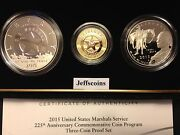 2015 W P S Us Marshals Service Gold Silver Proof 5 Dollar 3 Coin Set Sr7 1