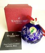 New Mint Waterford Crystal Cobalt Blue Ball Christmas Ornament In Box 106944
