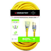 Monster Just Power It Up Outdoor 50 Ft. L Yellow Extension Cord 14/3 -case Of 10