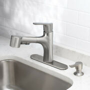 Oakbrook Tucana One Handle Brushed Nickel Pull Out Kitchen Faucet -case Of 3