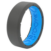 Groove Life Men's Round Deep Stone Gray Ring Silicone Water Resistan -case Of 40