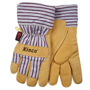 Kinco Men's Outdoor Pigskin Leather Knit Wrist Work Gloves Yellow Xxl -pack Of 1