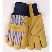 Kinco Menand039s Outdoor Pigskin Leather Knit Wrist Work Gloves Yellow S -case Of 72